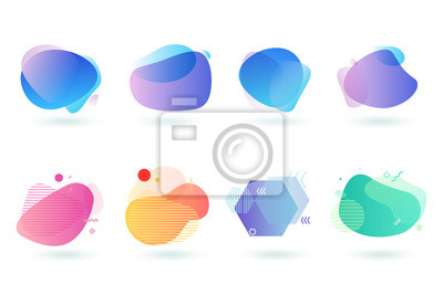 Sticker Set of abstract graphic design elements. Vector illustrations for logo design, website development, flyer and presentation, background, cover design, isolated on white.