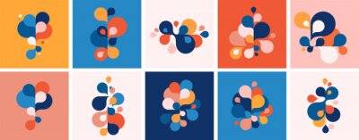 Sticker Set of abstract modern graphic elements and forms. Abstract banners with flowing liquid shapes