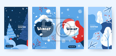 Sticker Set of abstract winter backgrounds for social media stories. Colorful winter banners with falling snowflakes, snowy trees. Wintry scenes . Use for event invitation, discount voucher, ad. Vector eps 10