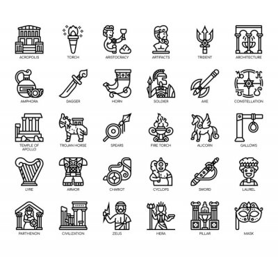Sticker Set of ancient greece thin line and pixel perfect icons for any web and app project.