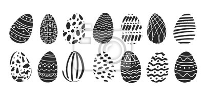 Set of black and white Easter eggs drawn by hand in Scandinavian style on a white background. Decorative elements for postcards, posters, invitations to the spring holiday. Cute vector illustration.
