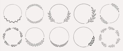 Sticker Set of black laurels frames branches. Vintage laurel wreaths collection. Hand drawn vector laurel leaves decorative elements. Leaves, swirls, ornate, award, icon. Vector illustration.