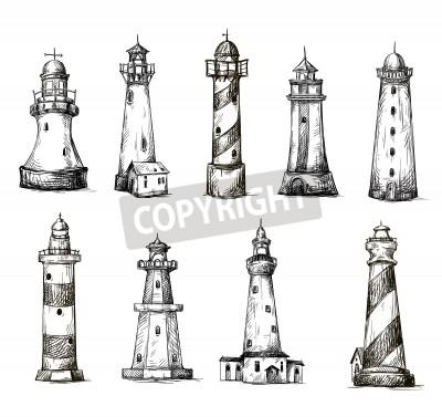 Sticker set of cartoon lighthouses
