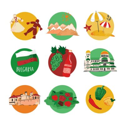 Set of colored decorative symbols and architecture of Bulgaria in the form of a circle on a white background. Elements for travel guides, maps, promo and Souvenirs. Cartoon flat vector illustration.