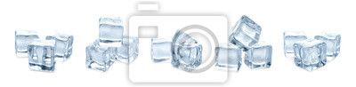 Sticker Set of crystal clear ice cubes on white background