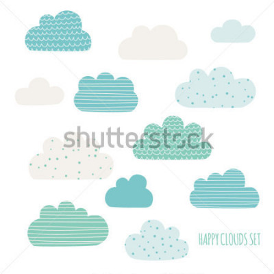 Sticker Set of cute clouds. Design for kids. Vector illustration