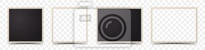 Sticker Set of deckle edge photo frames on transparent background
