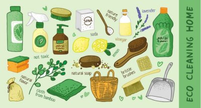 Set of decorative elements for ecological house. Home cleaning service with nature friendly substances. Green house. Natural non-toxic items for posters and promotional materials. Vector illustration.