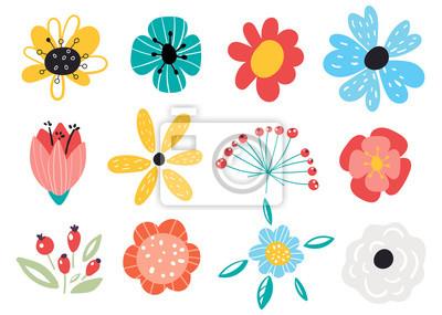 Sticker Set of decorative floral design elements. Flat cartoon vector illustration. Illustration of nature flower spring and summer in garden.