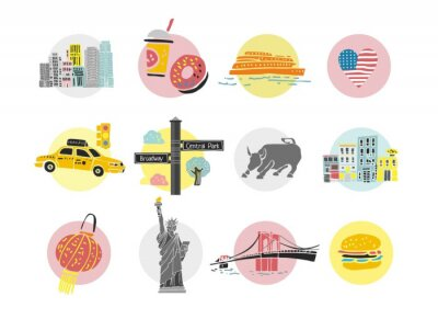 Set of decorative symbols of New York. Templates and icons for the travel site in America, travel guides, postcards, maps. Sights and main elements of a big city. Cute cartoon vector illustration.