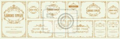 Sticker Set of Decorative vintage frames and borders set,Gold photo frame with corner