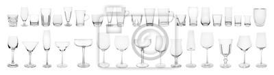 Sticker Set of different empty glasses on white background. Banner design