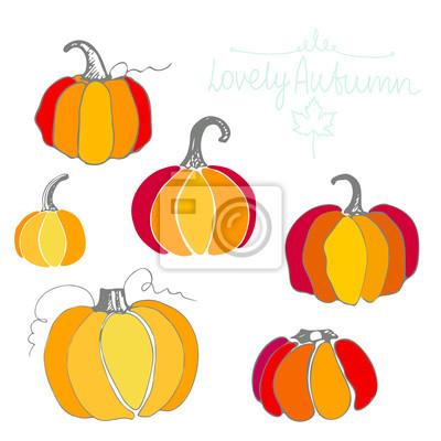 Set of different pumpkins