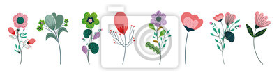 Sticker set of differents flowers decoration on white background