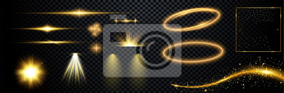 Sticker  Set of flashes, lights and sparks. Abstract golden lights isolated on a transparent background. Bright gold flashes and glares. Bright rays of light. Glowing lines. Vector illustration.