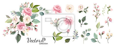 Sticker Set of floral branch. Flower pink rose, green leaves. Wedding concept with flowers. Floral poster, invite. Vector arrangements for greeting card or invitation design