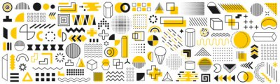 Sticker Set of geometric shapes. Memphis design retro elements. Collection trendy halftone geometric shapes. Retro funky graphic, 90s trends designs and vintage print element collection – vector