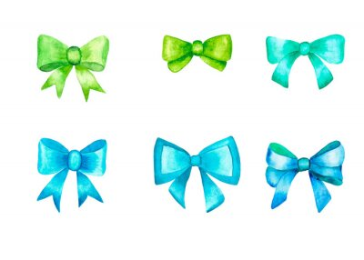 Set of green and blue bows. Watercolor illustration. Isolated on white bacground.