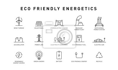 Sticker Set of green energy thin line icons. Icons for renewable energy, green technology. Design elements for you projects. Vector illustration.