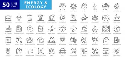 Sticker Set of green energy thin line icons. Icons for renewable energy, green technology. Design elements for you projects. Vector illustration