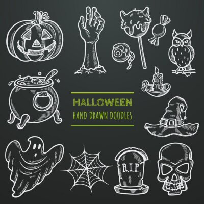 Set of halloween icons in doodle style. Chalk sketches with traditional symbols of halloween. Scary hand drawn illustration . Decoration elements for party invitation, greeting card, cafe, menu, bar.
