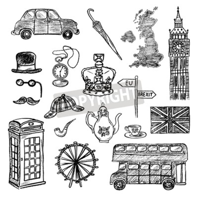 Set of hand drawn icons of English culture. Charcoal drawing of United Kingdom map, cab, London landmarks, crown, etc. Black and white doodle vector illustration