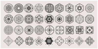 Sticker Set of hand drawn oriental elements. Black mandala / Asian traditional design.