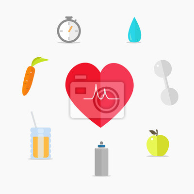 Set of Healthy lifestyle icons.