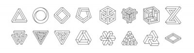 Sticker Set of impossible shapes. Optical Illusion. Vector Illustration isolated on white. Sacred geometry. Black lines on a white background.