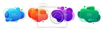 Sticker Set of isolated blue and red fluid blobs, gradient green and violet liquid spots. Abstract 3d brush spats for poster design or flyer background, banner template. Geometric shapes with dynamic colors