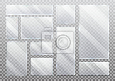 Sticker Set of isolated glass plate on transparent