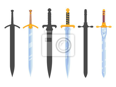 Sticker Set of knight swords isolated on white background. Swords in flat style and silhouettes. Vector illustration