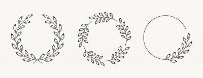 Sticker Set of laurel wreath design elements. Black circle border vector ornaments.