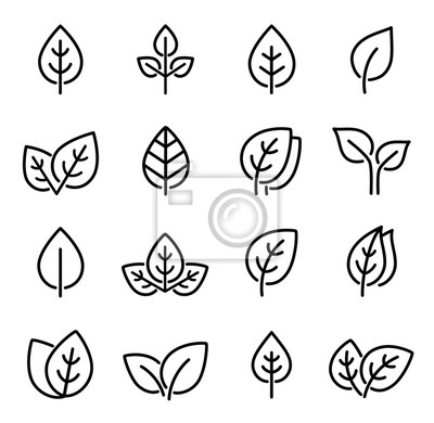 Sticker set of line leaf icons