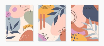 Sticker Set of mid century modern abstract vector illustrations with organic shapes and leaves.Minimalistic art prints.Trendy artistic designs perfect for banners;social media,invitations;branding,covers