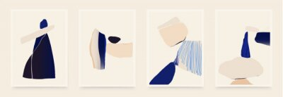 Sticker Set of minimalist abstract aesthetic shapes illustrations. Modern style wall decor. Collection of contemporary artistic posters.