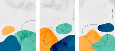 Sticker set of minimalist watercolor stains elements flyer