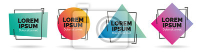 Sticker Set of modern abstract vector banners. Geometric shapes of different colors with black outline design - Vector