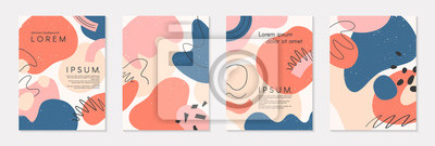 Sticker Set of modern colorful vector collages with hand drawn organic shapes and textures.Trendy contemporary design perfect for prints,flyers,banners,brochure,invitations,branding design,covers and more