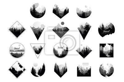 Sticker Set of monochrome landscapes in geometric shapes circle, triangle, rhombus. Natural sceneries with wild pine forests. Flat vector for company logo or camping logo