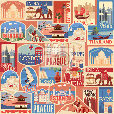 Set of retro travel stickers. Countries of Asia, Europe, America and Africa. Vector color graphics