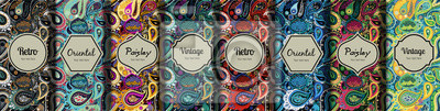 Sticker Set of seamless patterns in vintage paisley style.