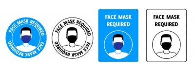 Sticker Set of signs face mask required