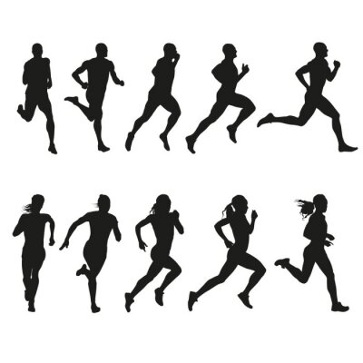 Sticker Set of silhouettes of running men and women
