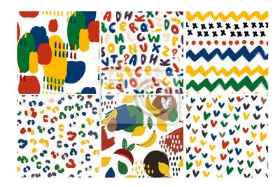 Set of six hand drawn vector seamless patterns