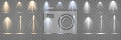 Sticker  Set of spotlight shines on the stage, scene, podium. Bright lighting with spotlights. Spot lighting of the stage. Lens flash light effect from a lamp or spot.