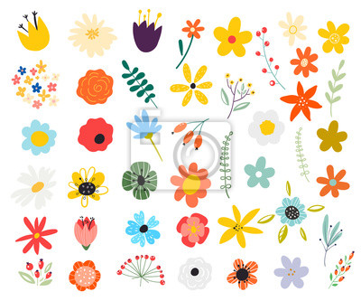 Sticker Set of spring colorful flowers. Set of floral branch. Isolated on white for greeting cards, Easter, thanksgiving. Spring set, hand drawn elements.