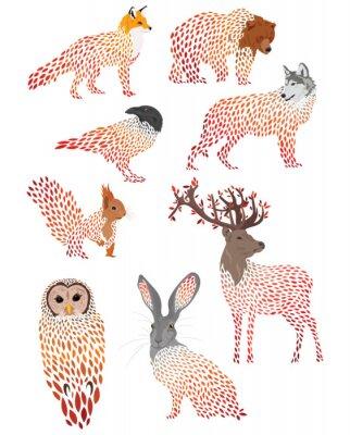 Sticker Set of stylized animals. Collection of cartoon forest animals. Logos of wild animals. Illustration for children.