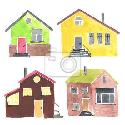 Set of the different watercolor houses