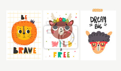 Set of three cards with animal faces. Colored vector set. Every illustration is isolated